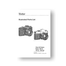 34-page PDF 623 KB download for the Vivitar 400SL Parts List | 420SL | 450SLD | 35mm SLR Cameras