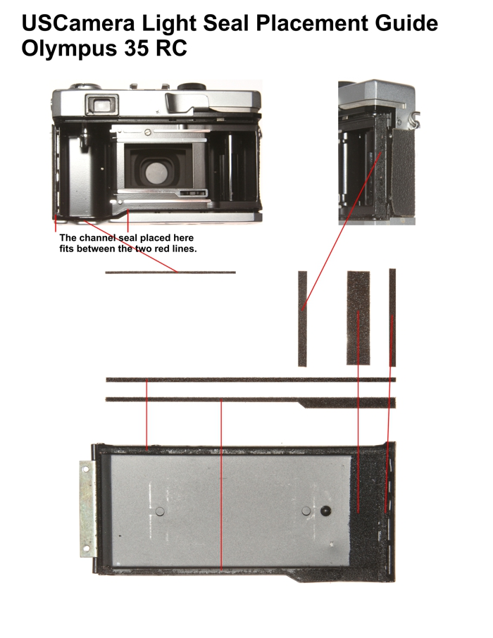Olympus 35RC Placement Guide | USCamera Foam | USCamera Light Seals | Film Cameras