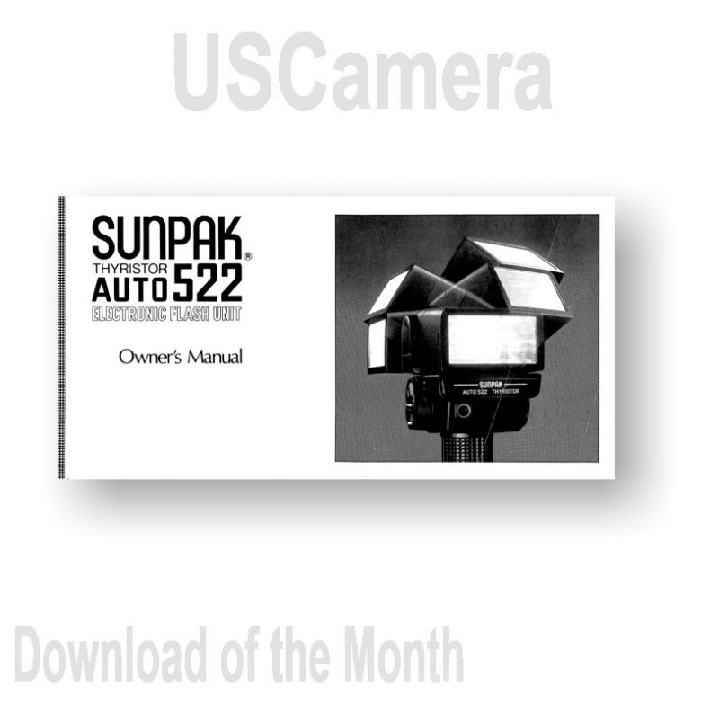 USCamera Free Monthly Download | Sunpak Auto-522 Owners Manual