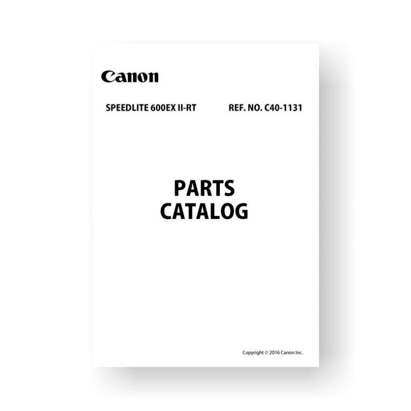 Canon C40-1131 Parts Catalog | Speedlite 600EX II-RT