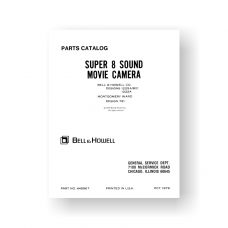 Bell & Howell 1222A Service Manual Parts List | 1225A | Super 8 Sound Cameras
