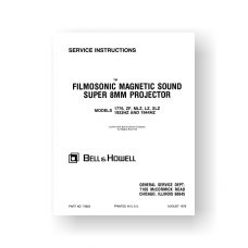 Bell & Howell 1776 Service Manual Parts List | 1933HZ | 1944HZ | LZ | MLZ | XLZ | ZF