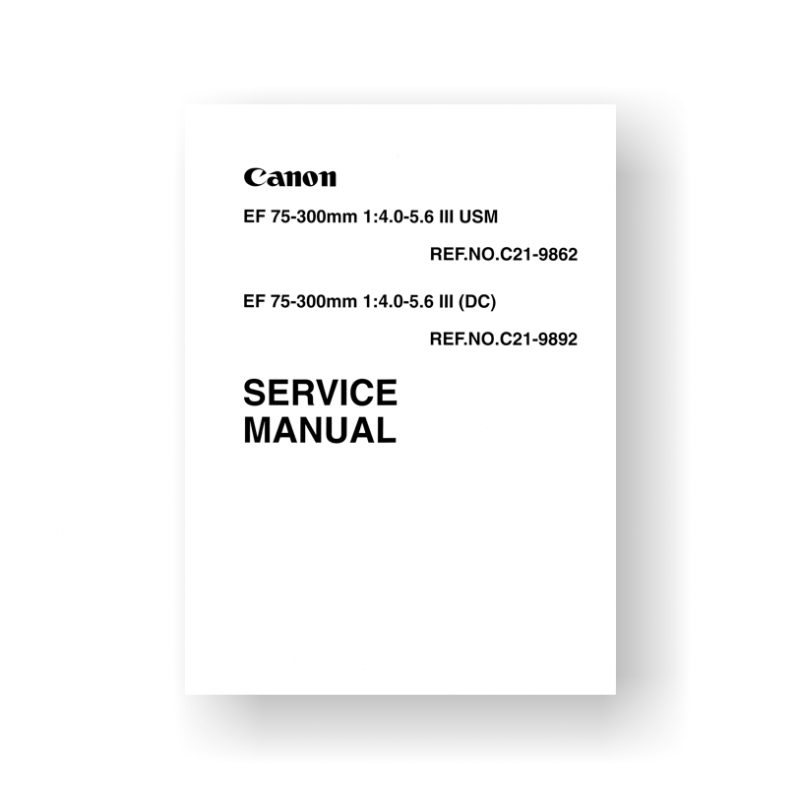 Canon CY8-1200-214 Service Manual Parts List | EF 75-300 4.5-5.6 III USM | EF 75-300 4.5-5.6 III (DC)