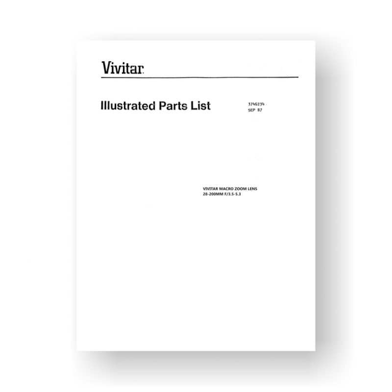 14-page PDF 756 KB download for the Vivitar 3746234 Parts List | 28-200 3.5-5.3 Macro Zoom Lens