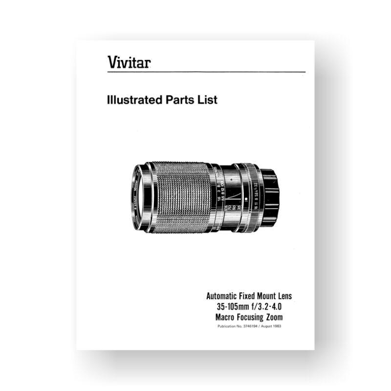 Vivitar 3746194 Parts List | 35-105 3.2-4.0 Macro Focusing Zoom Lens