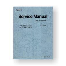 Canon C21-5371 Service Manual | EF 35 1.4 L USM