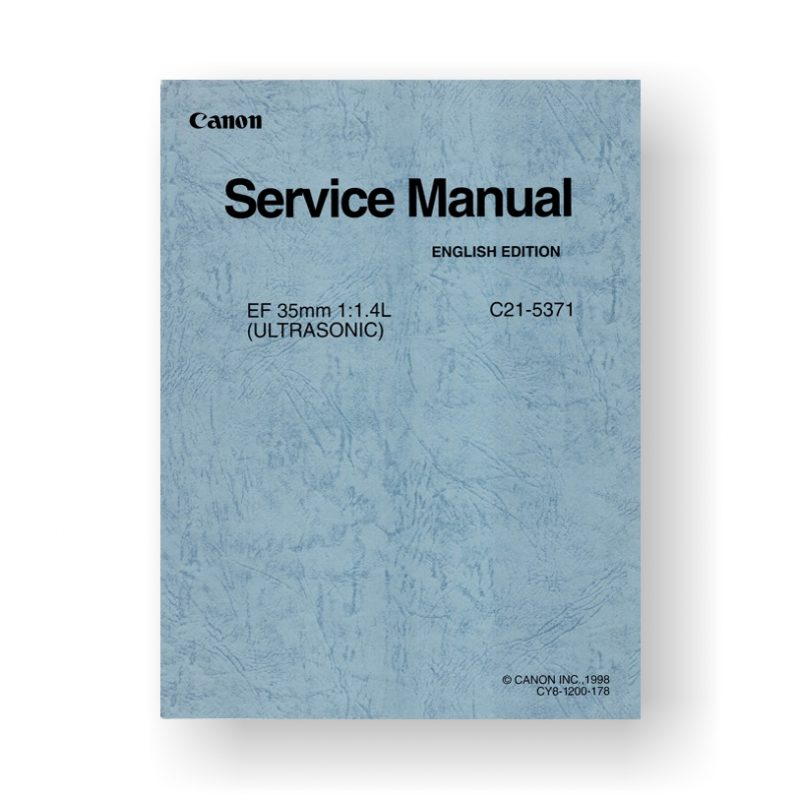 Canon C21-5371 Service Manual   EF 35 1.4 L USM
