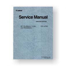 Canon C21-9792 Service Manual | EF 80-200 2.8 L Ultrasonic