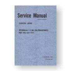 Canon C21-7311 Service Manual Parts Catalog | EF 200 2.8 L USM