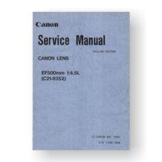 Canon C21-8352 Service Manual Parts Catalog | EF 500 4.5 L USM