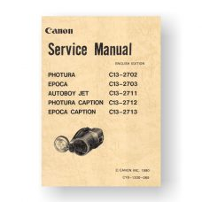 Canon CY8-1200-069 Service Manual Parts Catalog | Canon Photura | Photura Caption | Epoca | Autoboy Jet