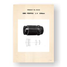 Pentax 45152 SMC-Takumar 150 4.0 Parts List PDF Download