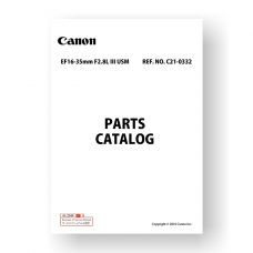 9-page PDF 6.77 MB download for the Canon C21-0332 Parts Catalog | EF 16-35 2.8 L III USM