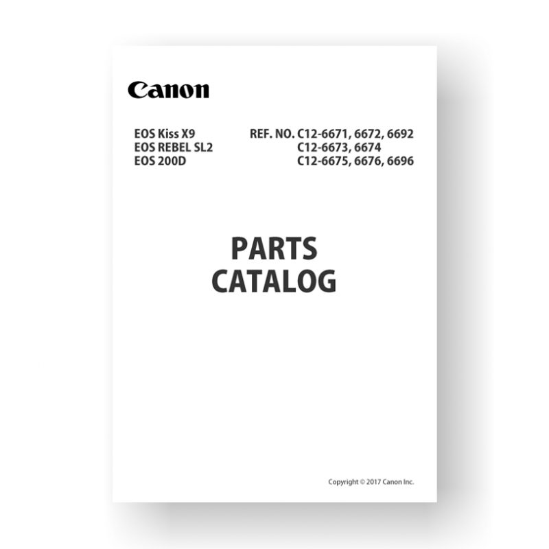 10 page PDF 2.79 MB download for the Canon C12-6673 Parts Catalog | EOS 200D | EOS Kiss X9 | EOS Rebel SL2