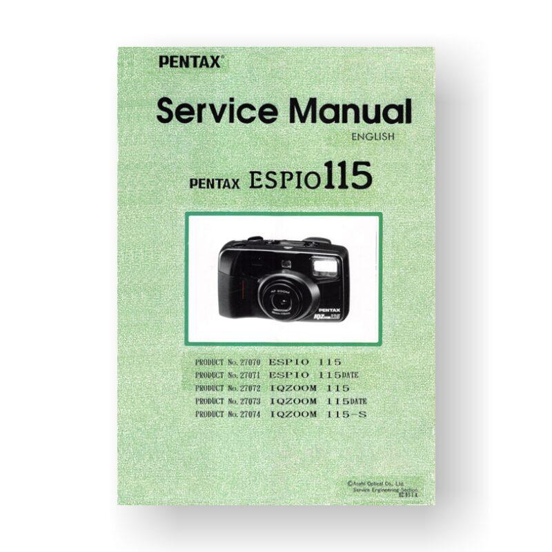 Pentax 27072 Service Manual Parts List | IQ-Zoom 115
