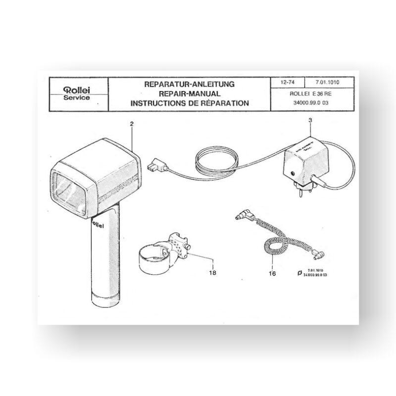 Rollei E66 Repair Manual Parts List | Handle Mount Flash Unit