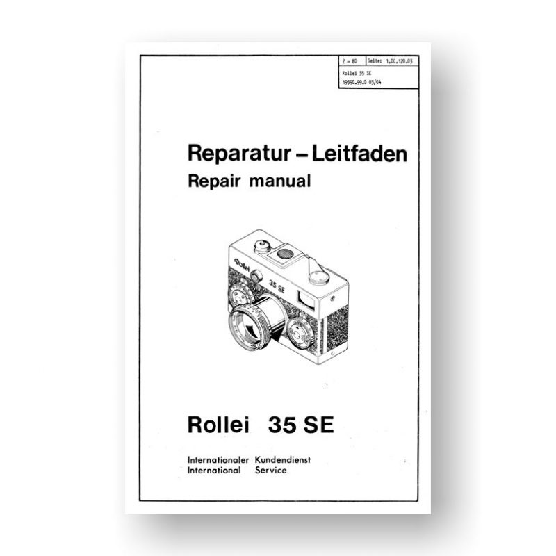 Rollei 35SE Repair Manual Parts List | 35mm Film Cameras