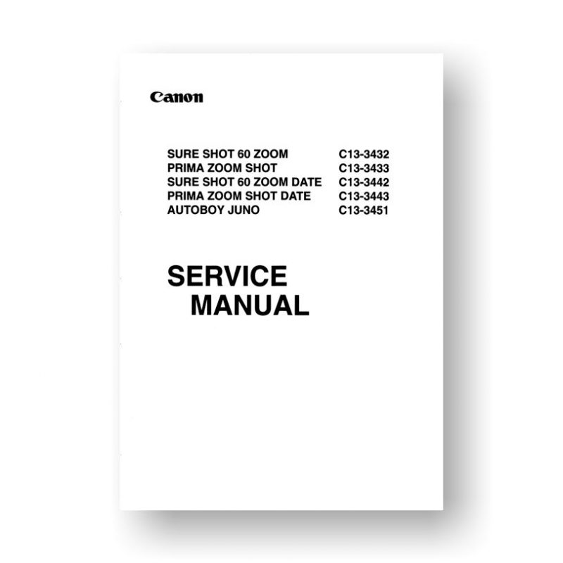 Canon CY8-1200-127 Service Manual Parts Catalog | Sure Shot 60 Zoom | Prima Zoom Shot | Autoboy Juno