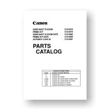 Canon CY8-1200-126 Service Manual Parts Catalog | Sure Shot 70 Zoom | Prima 70F | Autoboy Luna 35 | Sure Shot 70 Zoom Date | Prima 70F Date