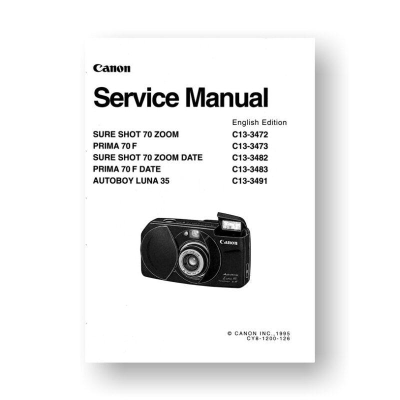 Canon CY8-1200-126 Service Manual Parts Catalog | Sure Shot 70 Zoom | Prima 70F | Autoboy Luna 35 | Sure Shot 70 Zoom Date | Prima 70F Date