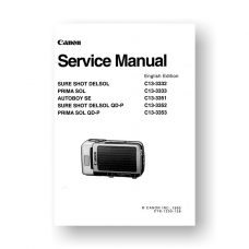 Canon C13-3332 Service Manual Parts Catalog | Sure Shot DelSol - DelSol QD-P | Prima Sol - Prima Sol QD-P| Autoboy SE