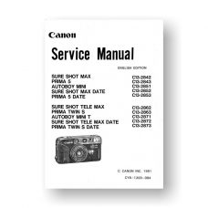 Canon CY8-1200-084 Service Manual Parts Catalog | Sure Shot Max | Prima 5 | Autoboy Mini | Sure Shot Tele Max | Prima Twin S | Autoboy Mini T