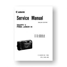 Canon CY8-1200-065 Service Manual Parts Catalog | Snappy V | Prima Junior HI