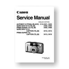 Canon C13-3402 Service Manual Parts Catalog | Sure Shot Z115 | Autoboy S | Prima Super 115 | Sure Shot Z115 Caption | Prima Super 115 Caption