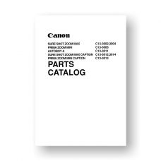 Canon Sure Shot Zoom Max | Prima Zoom Mini | Autoboy A Film Camera Service Manual Parts Catalog PDF Download