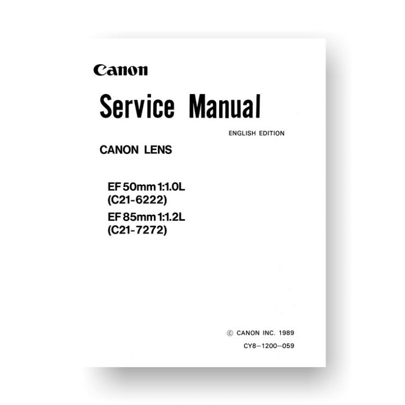 Canon C21-6222 Service Manual Parts Catalog   EF 50 1.0 L   EF 85 1.2 L