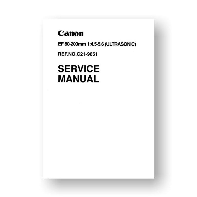 Canon C21-9651 Service Manual Parts Catalog   EF 80-200 4.5-5.6 USM Lens