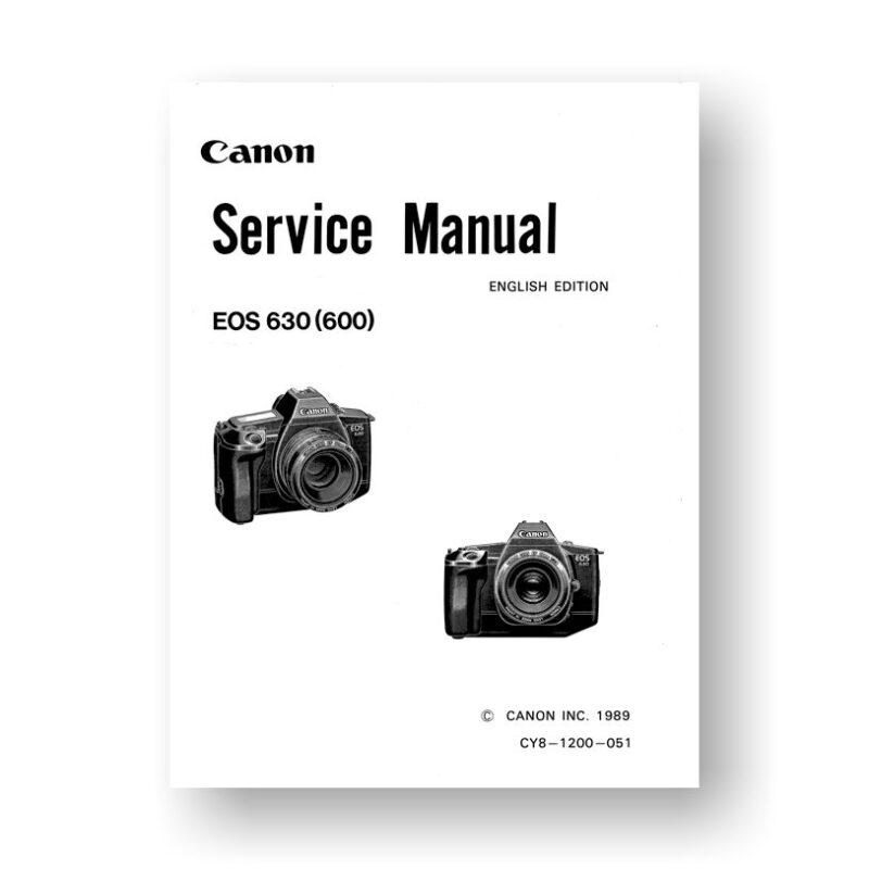 Canon CY8-1200-051 Service Manual Parts Catalog   EOS 630   EOS 600   SLR Film Camera