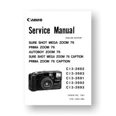 Canon CY8-1200-083 Service Manual Parts Catalog | Sure Shot Mega Zoom 76 | Prima Zoom 76 | Autoboy Zoom 76