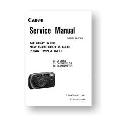Canon C13-2831 Service Manual Parts Catalog | New Sure Shot | Autoboy WT28 | Prima Twin | New Sure Shot Date | Prima Twin Date