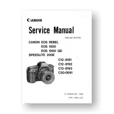 Canon C12-8192 Service Manual Parts Catalog | EOS Rebel | EOS 1000 | Speedlite 200E