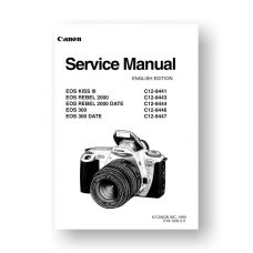 Canon C12-8443 Service Manual Parts Catalog | EOS Kiss III | EOS Rebel 2000 | EOS 300