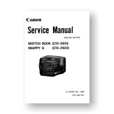 Canon CY8-1200-057 Service Manual Parts Catalog | Sketch Book | Snappy Q Film Cameras