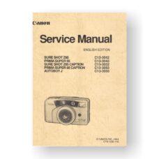 Canon CY8-1200-180 Service Manual Parts Catalog | Sure Shot 85 Zoom | Prima Zoom 85 | Autoboy Luna 85 | Sure Shot 85 Zoom Date | Prima Zoom 85 Date