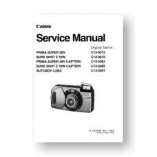 Canon C13-3375 Service Manual Parts List | Sure Shot Z 70W | Super 28 V | Autoboy Luna