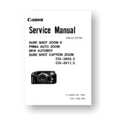 Canon CY8-1200-055 Service Manual Parts Catalog | Sure Shot Zoom S | Prima Auto Zoom | New Autoboy | Sure Shot Caption Zoom