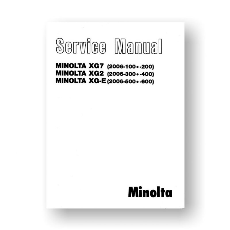 Minolta XG7 Service Manual Parts List PDF Download