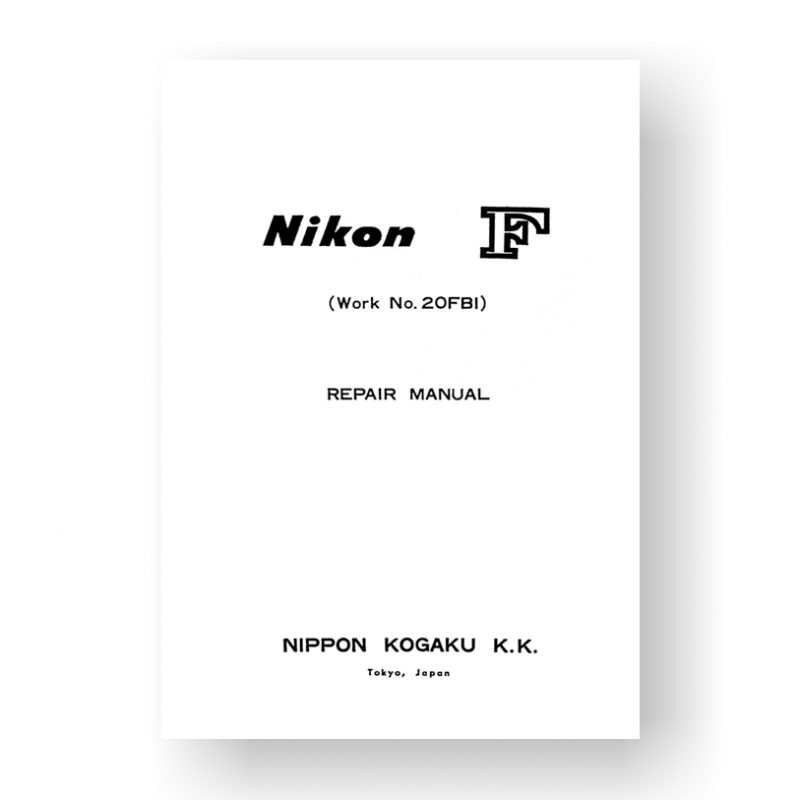 Nikon F Repair Manual Parts List | Vintage Film Camera