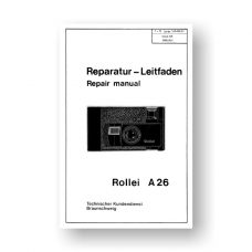 Rollei A26 Repair Manual Parts List | 126 Film Cameras