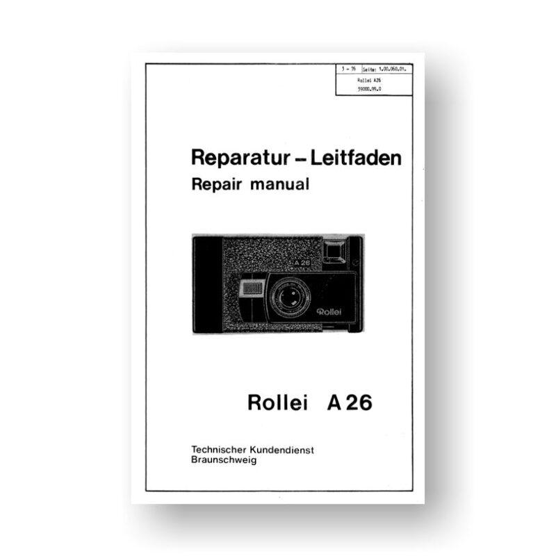 Rollei A26 Repair Manual Parts List | 126 Film Cameras