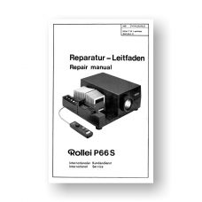 Rollei P66S Repair Manual Parts List | 6X6 Slide Projector