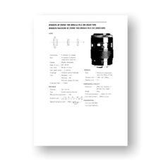Minolta AF100-200 4.5 Service Manual Parts List