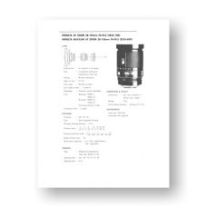 Minolta AF28-135 4-4.5 Service Manual Parts List