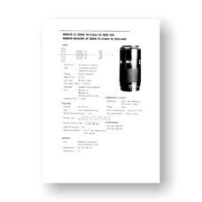 Minolta AF70-210 4.0 Service Manual Parts List