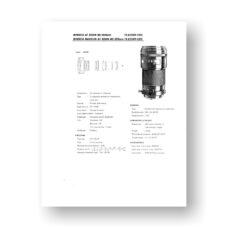 Minolta AF80-200 4.5-5.6 Service Manual Parts List