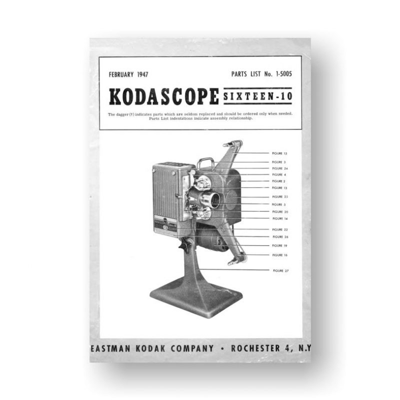 Kodascope Sixteen-10 Projector Parts List PDF Download